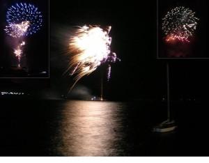 Das Feuerwerk direkt über dem Binnensee lies den Himmel leuchten...